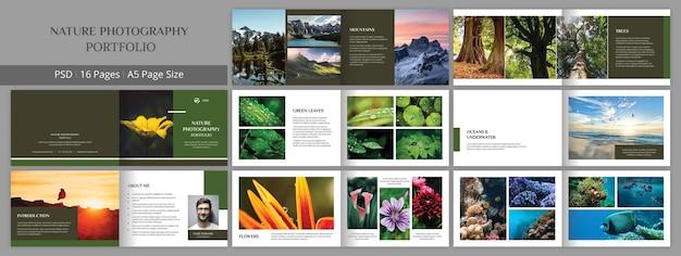 Modello di progettazione dell'opuscolo del portfolio di fotografia naturalistica