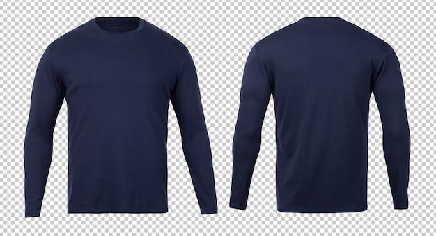T-shirt a maniche lunghe blu scuro modello di modello anteriore e posteriore per il vostro disegno.