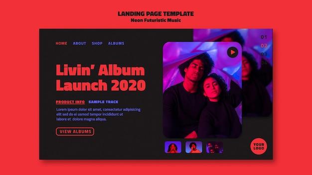 Modello di pagina di destinazione di musica futuristica al neon