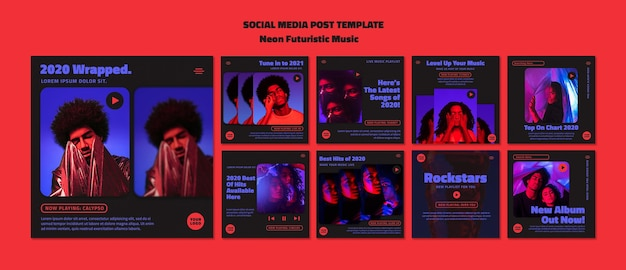 Modello di post di social media di musica futuristica al neon