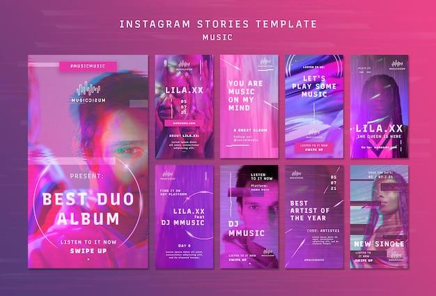 Raccolta di storie al neon di instagram per la musica con l'artista