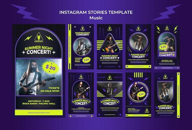 Raccolta di storie al neon di instagram per il concerto notturno d'estate