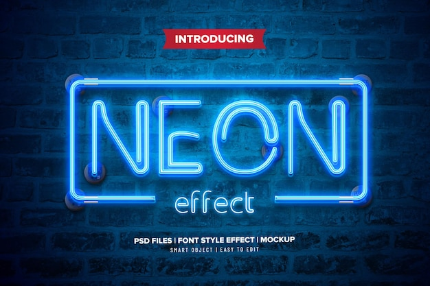 Effetto di testo premium luce al neon Psd Premium