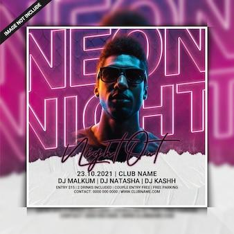 Modello di volantino festa neon night dj
