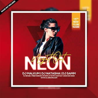 Modello di volantino per feste al neon night out dj club