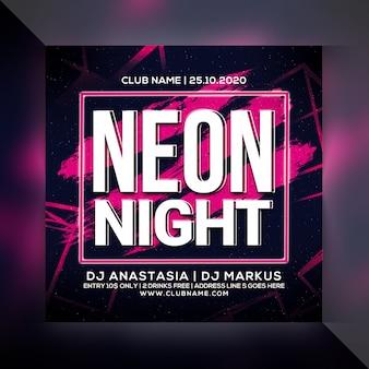 Volantino festa di notte al neon