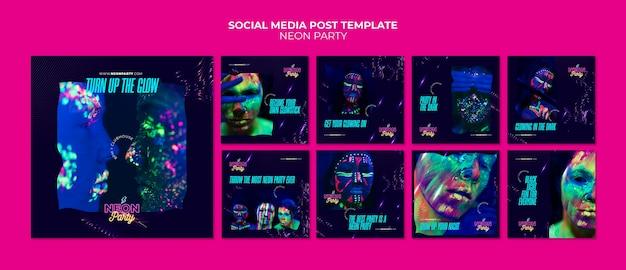 Modello di post sui social media per feste al neon