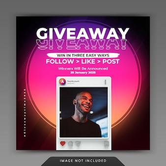 Modello di interfaccia utente instagram minimalista neon retrò e 3d