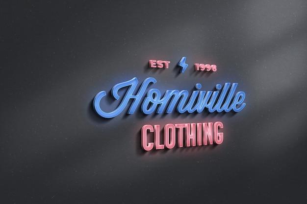 Neon sign 3d logo mockup
