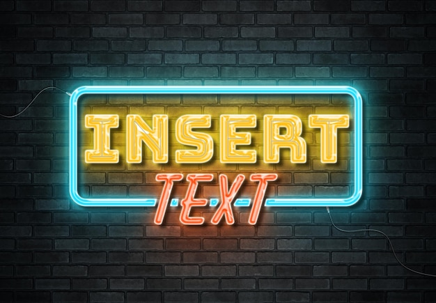 Effetto di testo di segno al neon sul muro di mattoni con fili mockup
