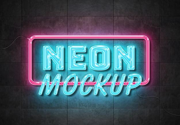 Effetto di testo del segno al neon sulla parete dei pannelli con fili mockup