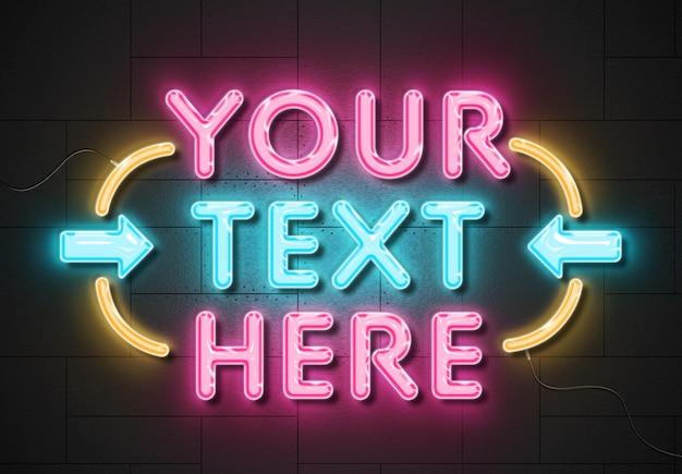 Effetto di testo del segno al neon sulla parete dei pannelli con fili