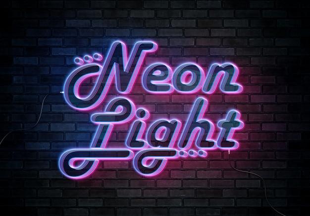 Neon effetto testo sul muro di mattoni con fili mockup