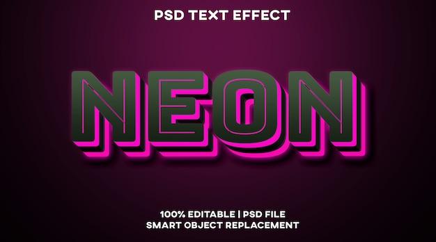 Modello di stile effetto testo al neon