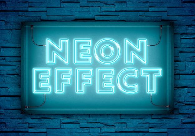Testo al neon in un cartello del negozio mockup