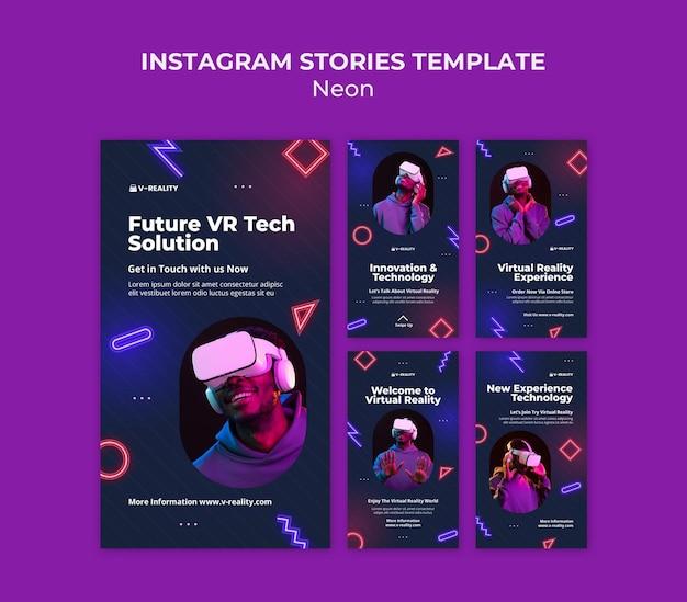 Occhiali per realtà virtuale al neon storie di instagram Psd Premium
