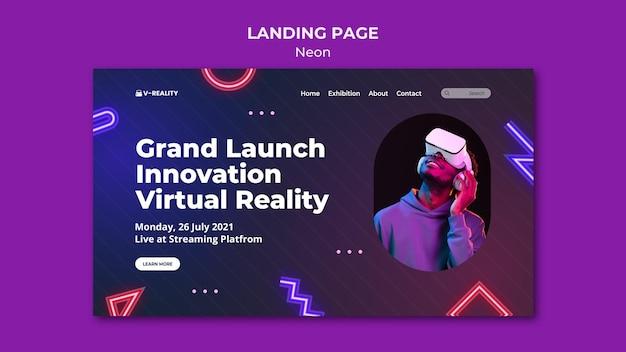 Pagina di destinazione degli occhiali per realtà virtuale al neon Psd Premium