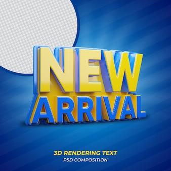 Nuovo testo di rendering 3d di arrivo