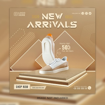 Nuovo arrivo scarpe casual sosial media post e modello di banner web con sfondo 3d