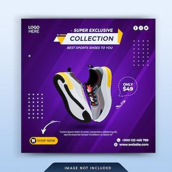 Nuova collezione di scarpe modello di banner di social media
