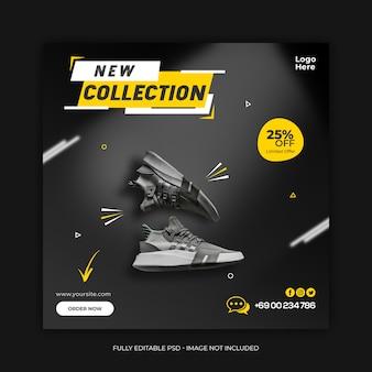 Nuova collezione di scarpe modello di social media banner