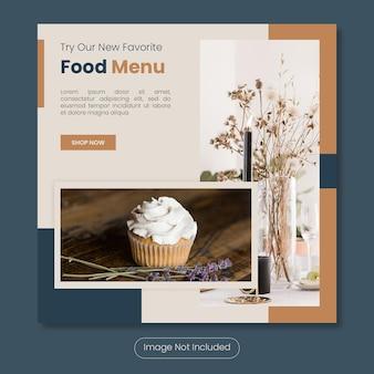 Nuovo modello di banner post instagram menu cibo preferito