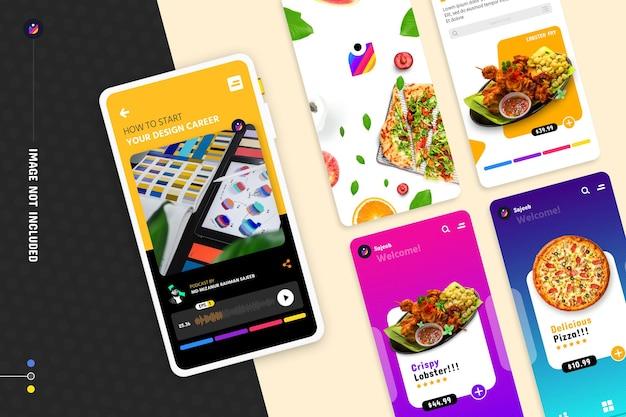 Nuovo mockup di promozione di app per smartphone moderne con multi schermo