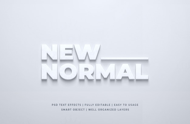 Nuovo normale effetto di stile testo 3d