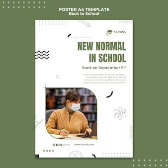 Nuova normalità nel modello di poster della scuola