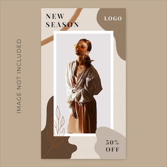 Modello di banner di storie di instagram liquido di new season fashion collection