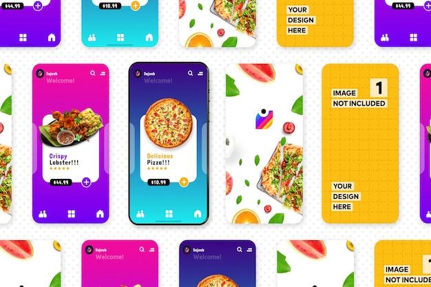 Nuovo mockup di promozione dell'app per smartphone per la presentazione del design