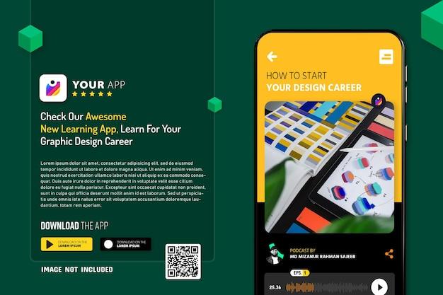 Nuovo mockup di promozione dell'app per smartphone, logo e pulsanti di download con codice qr di scansione