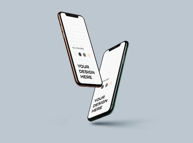 Nuovi smartphone mockup galleggianti