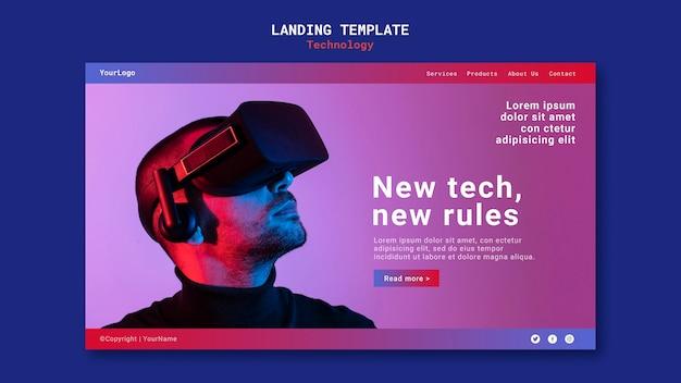 Design del modello di pagina di destinazione della nuova tecnologia