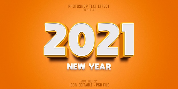 Modello di effetto di stile di testo 3d del nuovo anno 2021