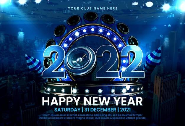 Celebrazione del nuovo anno 2022 con modello di composizione di rendering 3d