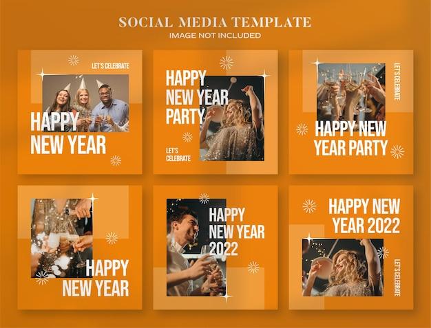 Banner di social media per feste di capodanno 2022 e modello di post di instagram