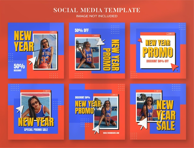 Banner di social media di vendita di capodanno 2022 e modello di post di instagram