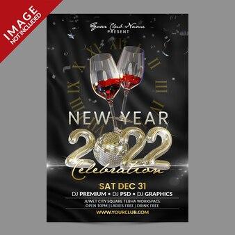 Composizione di rendering 3d per la celebrazione del nuovo anno per la promozione di eventi