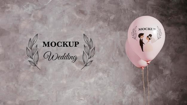 Celebrazione del nuovo anno con palloncini mock-up e copia spazio
