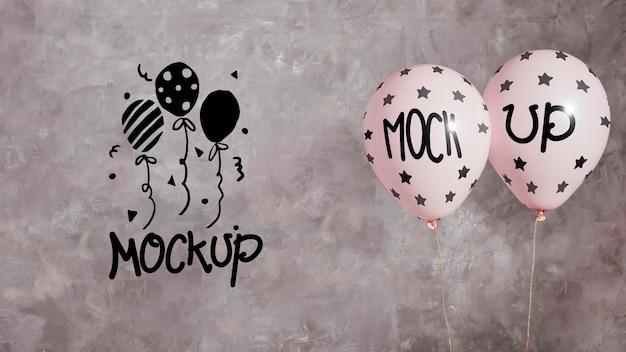 Celebrazione del nuovo anno con mock-up di palloncini