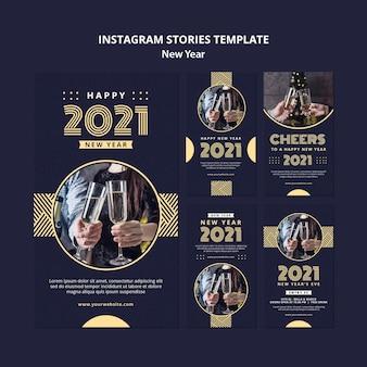 Modello di storie di instagram di concetto di nuovo anno