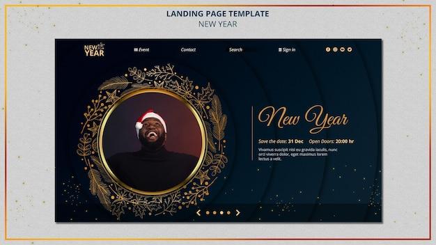 Modello di pagina di destinazione del nuovo anno con dettagli dorati
