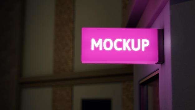 Mock-up di segno rosa di affari di notte