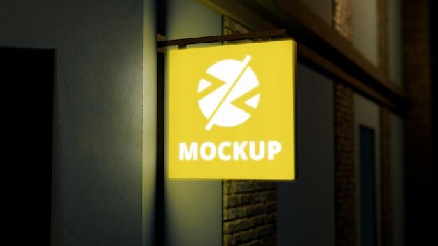 Mock-up di segno giallo di affari di notte