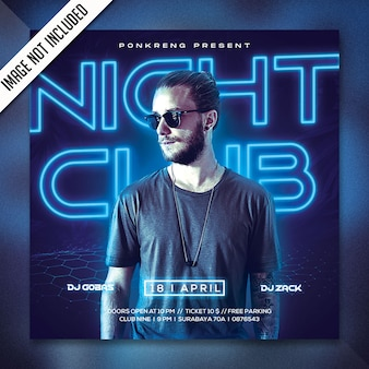 Volantino festa night club psd