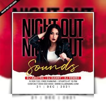 Modello di volantino per feste in discoteca con suoni notturni