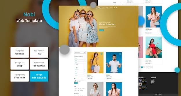 Modello web del negozio di categoria nobi