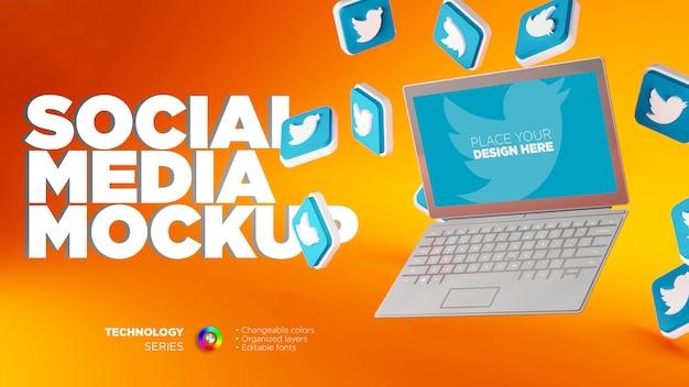 Mockup di display per notebook con icone twitter 3d
