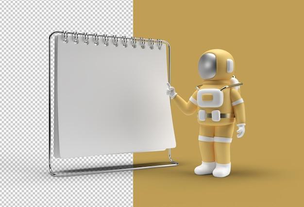 Notebook mock up con file psd trasparente con dito puntato astronauta.
